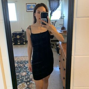 Vintage black velvet mini dress XS